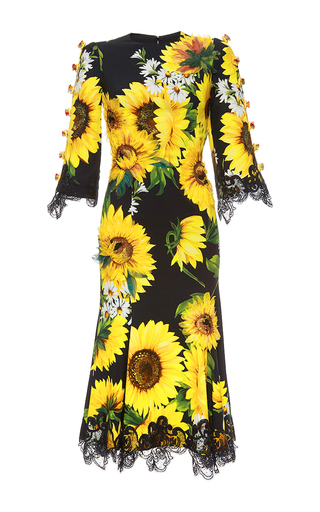 Medium dolce gabbana print sunflower cady short sleeve dress
