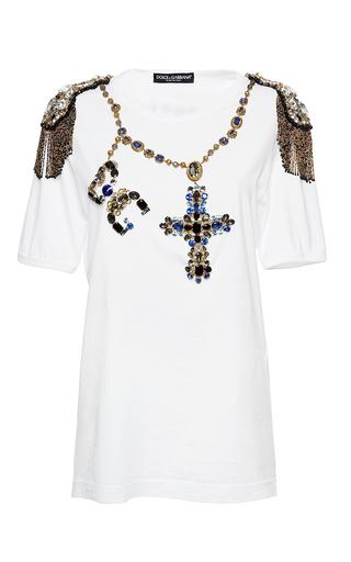 Medium dolce gabbana white jewel rosary beads tee