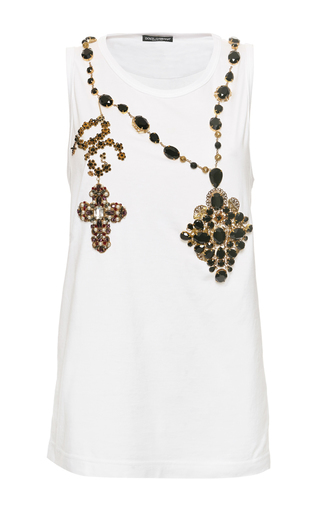 Medium dolce gabbana white rosary bead tank