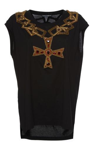 Medium dolce gabbana black cross necklace patch tee
