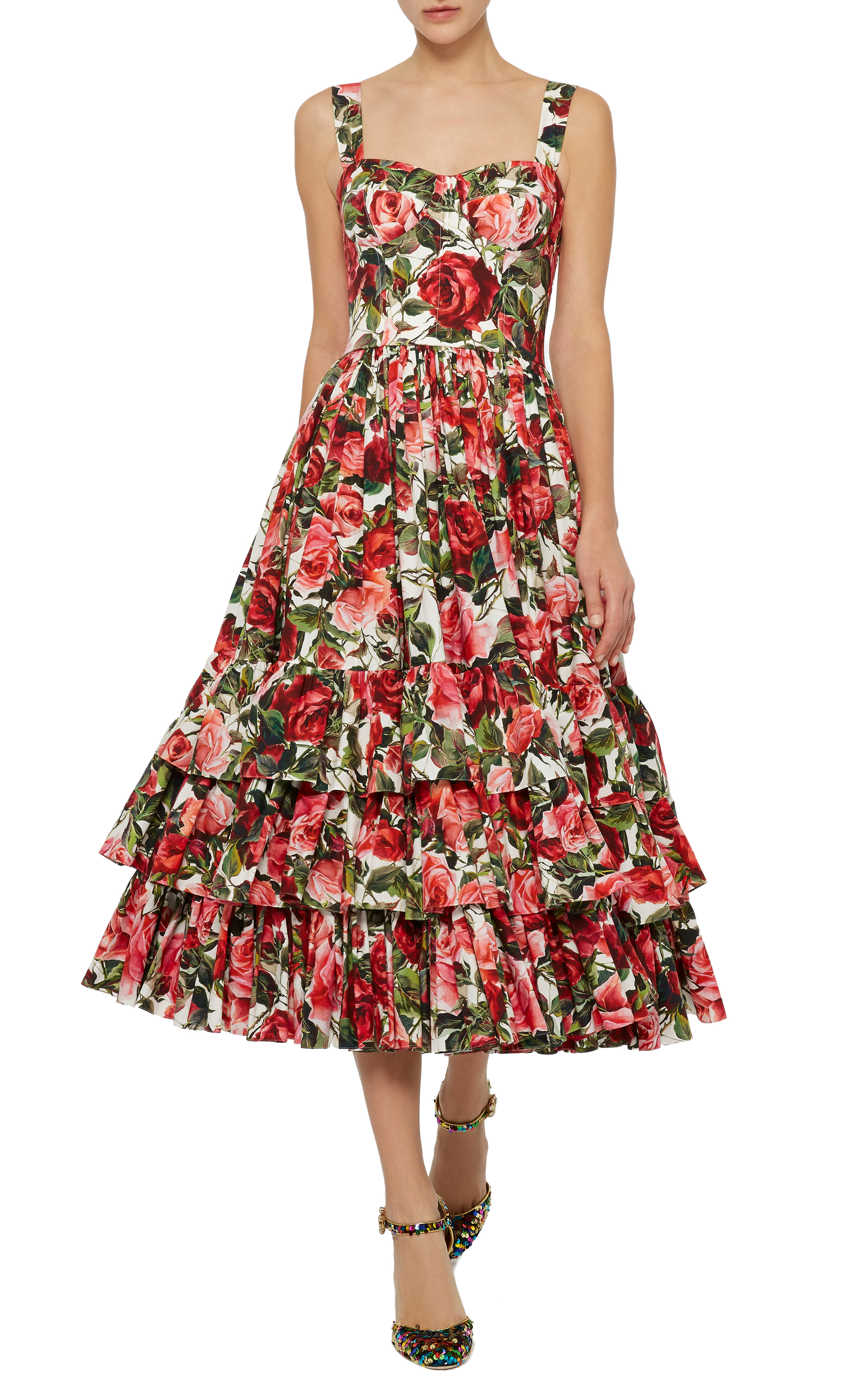 Loading. Loading. Loading. Loading. FULL SCREEN. Click Product to Zoom.  Dolce & GabbanaRose Print Poplin Bustier Dress