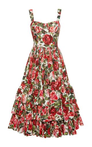 Medium dolce gabbana print rose print poplin bustier dress
