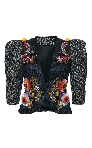 e39b5d8e87 Dolce & GabbanaMetallic Leopard Jacquard Cropped Jacket