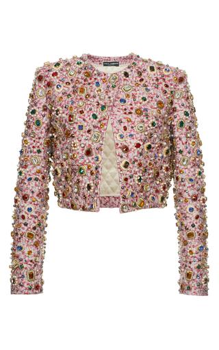 Medium dolce gabbana pink metallic jacquard jewel cropped jacket