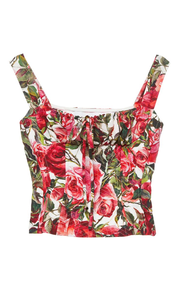 2b989416f20fa Dolce   GabbanaRose Print Poplin Bustier Top. CLOSE. Loading
