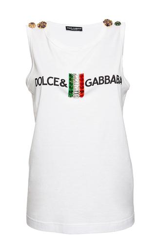 Medium dolce gabbana white flag scoop neck tank