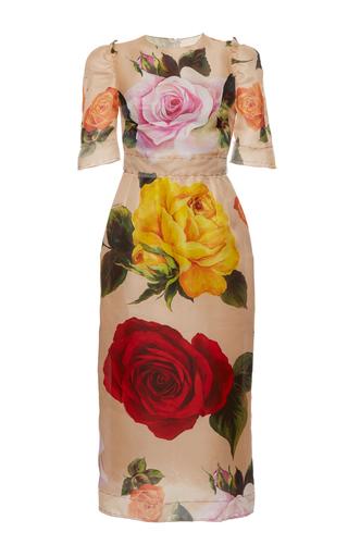 Medium dolce gabbana print garden rose organza sheath dress