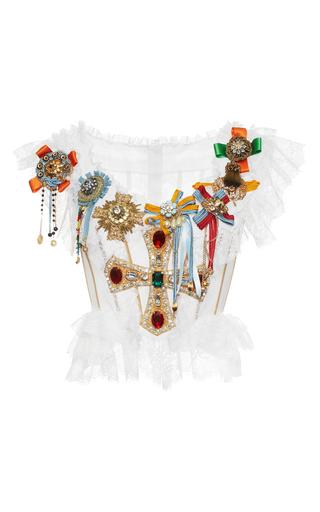 Medium dolce gabbana white jeweled cross bustier top