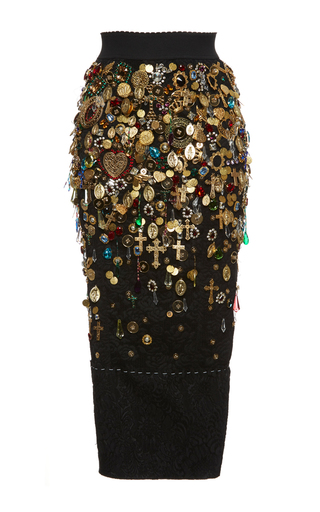 Medium dolce gabbana multi fitted charm and jewel embellished skirt