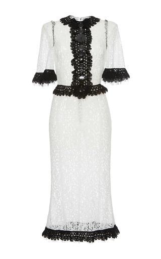Medium dolce gabbana white short sleeve lace sheath dress with contrast trim