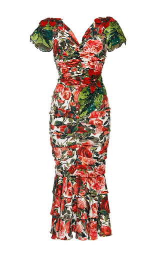Medium dolce gabbana print stretch charmeuse rose dress