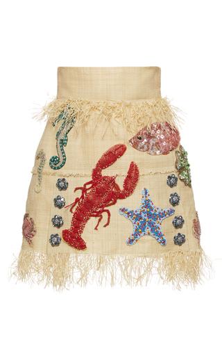 Medium dolce gabbana tan under the sea raffia mini skirt