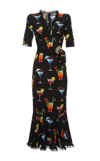 Medium dolce gabbana print italian cocktail v neck dress