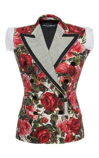 Medium dolce gabbana print rose print jacquard sleeveless jacket