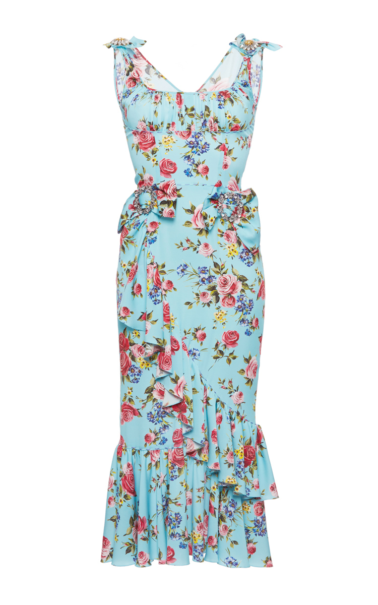 84c6d156aa6 Stretch Floral Dress with Brooches by Dolce & Gabbana   Moda Operandi