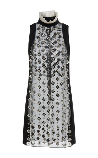 Medium david koma black sleeveless embroidered organza cover up dress