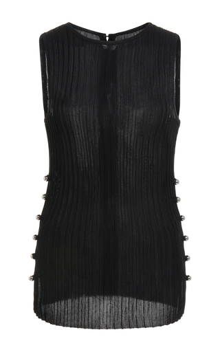 Medium david koma black rib knit vest