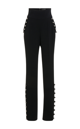 Medium david koma black high waisted embroidered trousers