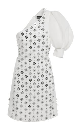 Medium david koma white one shoulder embroidered mini dress