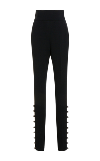 Medium david koma black high waisted embroidered hem trousers