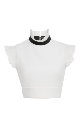 Medium david koma white ruffled detail crop top