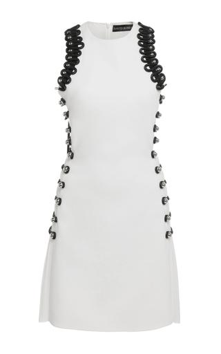 Medium david koma white sleeveless loop embroidered mini dress