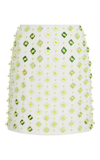 Medium david koma white square plexi and stone embroidered mini skirt