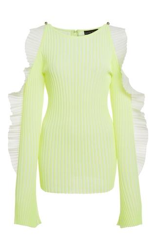 Medium david koma yellow long sleeve rib knit ruffled sweater
