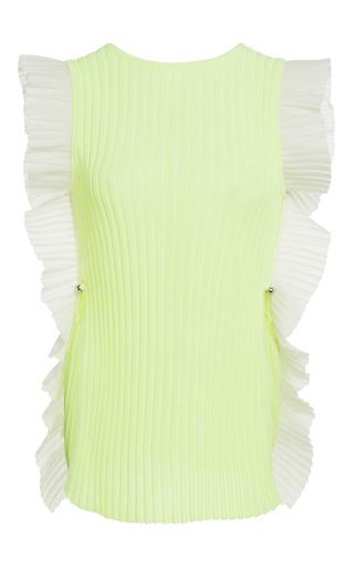 Medium david koma yellow rib knit ruffle vest