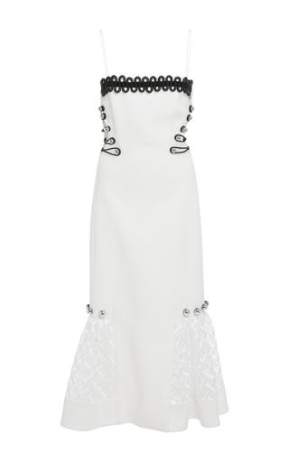 Medium david koma white open side loop midi length dress