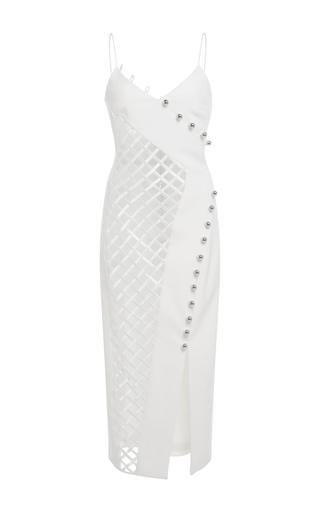 Medium david koma white v neck macrame midi dress