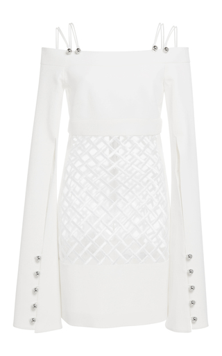 Medium david koma white open shoulder macrame body dress