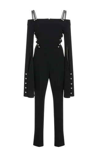 Medium david koma black long sleeve cropped jumpsuit