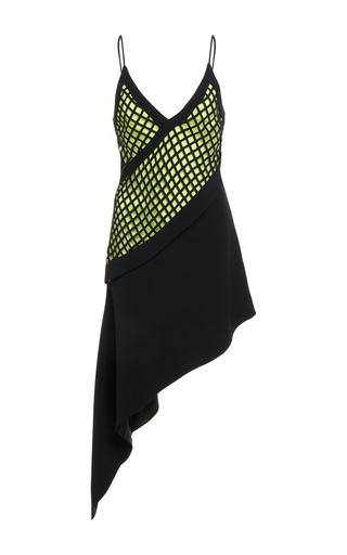Medium david koma black v neck asymmetrical underlayer dress
