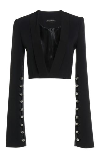 Medium david koma black long bell sleeve cropped jacket