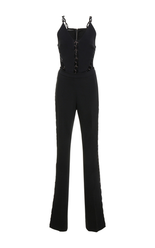 Medium david koma black chain lace sleeveless jumpsuit