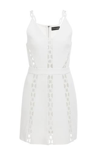 Medium david koma white chain lace inserts mini dress