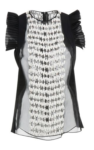 Medium david koma black embroidered organza top