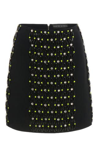 Medium david koma black plastic chain and crystal embroidered mini skirt
