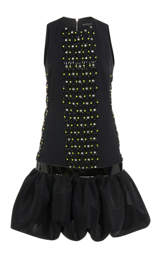 Medium david koma black sleeveless embroidered puff hem dress