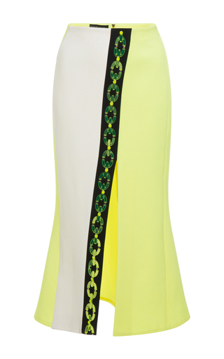 Medium david koma yellow plexi chain contrast midi skirt