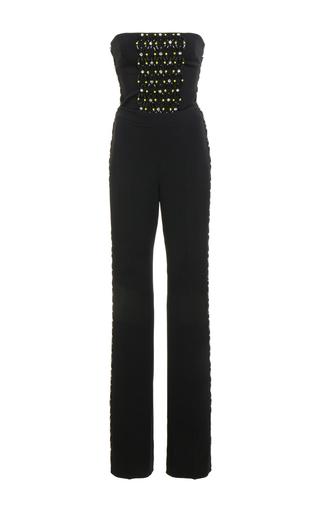 Medium david koma black strapless embroidered jumpsuit