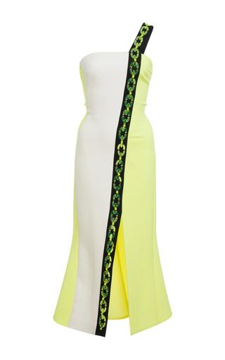 Medium david koma yellow plexi chain contrast midi dress