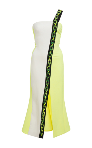 Medium david koma yellow plexi chain contrast midi dress
