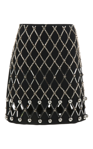 Medium david koma black embroidered mini skirt 2