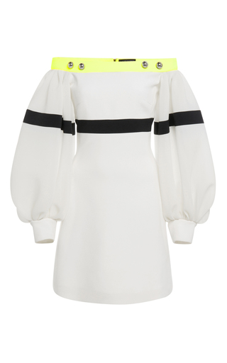 Medium david koma white off the shoulder balloon sleeve dress