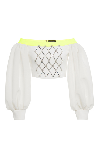Medium david koma white off the shoulder embroidered crop top