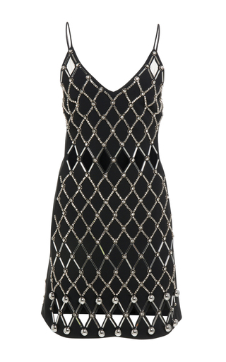 Medium david koma black v neck embroidered mini dress