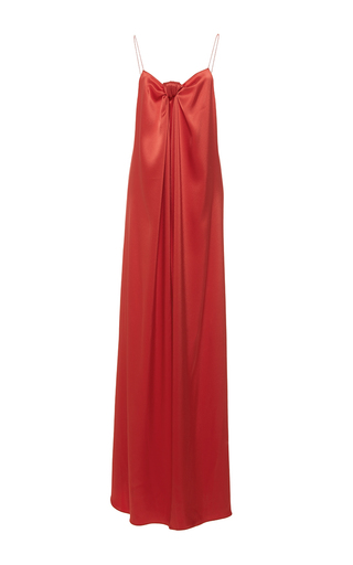 Medium alexis mabille coral long draped bow dress