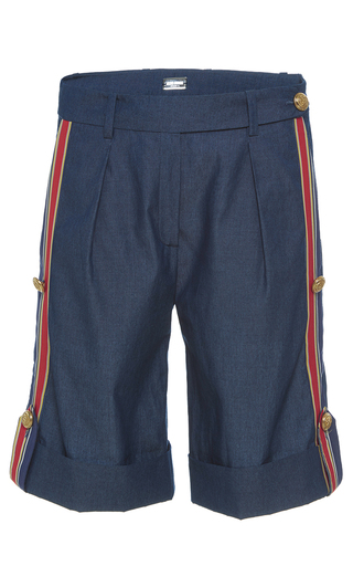 Medium alexis mabille blue bayadere striped chambray shorts